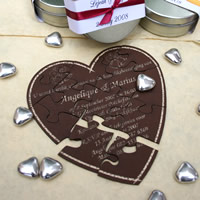 Bridal Favours : Heart-shaped Puzzle Invitation