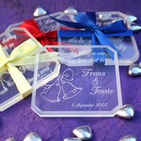 Bridal Favours : Personalised Perspex Coaster Set