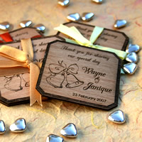 Bridal Favours : Personalised Wooden Coaster Set