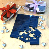 Bridal Favours : Personalised Coloured Perspex Puzzle Invitation