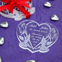 Bridal Favours : Personalised Heart-shaped Coaster Set