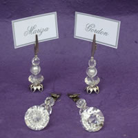 Bridal Favours : Silver & Crystal Place Card Holders